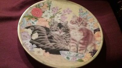 """1995 LENOX ENGLISH COUNTRY CATS PLATE COLLECTION ANNE MORTIMER """"pepper & ginger"""