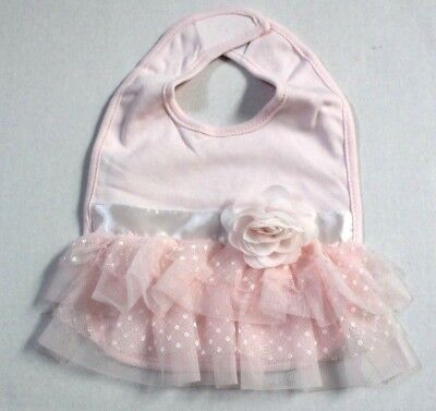 Koala Baby Boutique Girl Pink Ruffle Bib with Rosette & Bow NWT