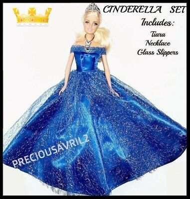 Brand new barbie doll clothes cinderella outfit princess wedding dress clothing.
