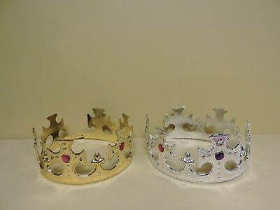 6 Plastic Kings Crown Hat Kids Jeweled Majestic Regal Crown Costumes(GOLD/SILVER