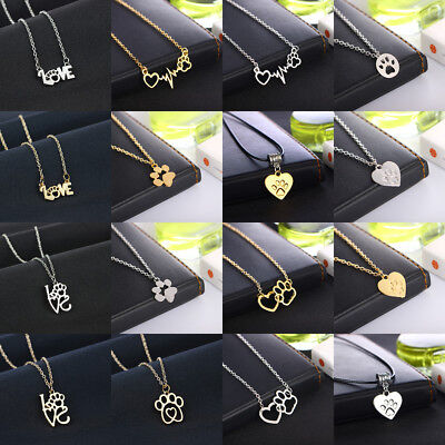 Fashion Paw Heartbeat Print Necklace Pendant Jewelry Pet Dog Cat Memorial Gift