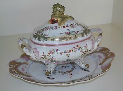 French Sevres-style Painted Porcelain Tureen 20th Century