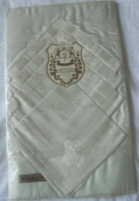 Mip Vintage 1960'S Pastel Green Cotton Rayon Damask Table Cloth & 4 Napkins