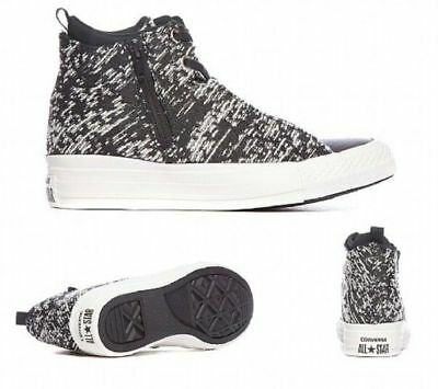 5fb17e805f12 Converse Chuck Taylor All Star Selene Knit Mid Top Black White Wedge Sz 6M  New