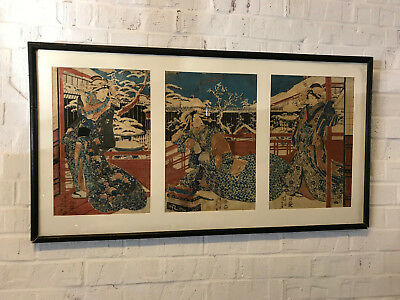 Antique Japanese Signed Woodblock Triptych Print Figures in Snow