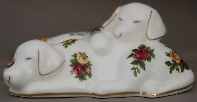 """Royal Albert - ***Very Rare Figurine Pair of Puppy Dogs*** - """"Old Country Roses"""""""