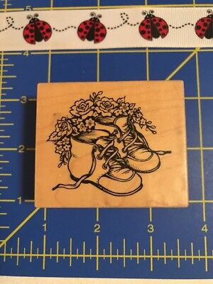 1996 PSX Rubber Stamps E-2000 Infant Baby Shoes Roses Flowers Ladybug Stamps