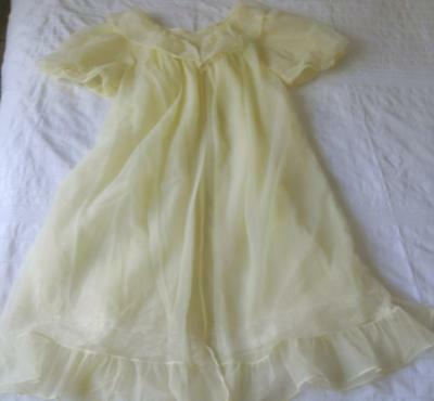 Vintage 1960's Nylocharm Sheer Yellow Nylon Baby Doll Pin Up Negligee Sw