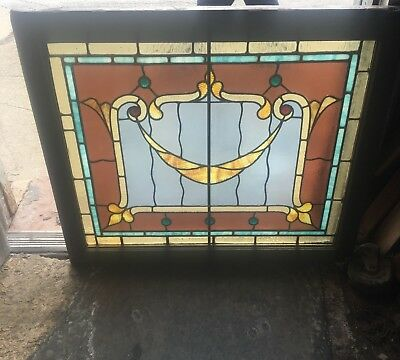 Rare Antique Buffalo Nouveau Jeweled And Colored Leaded Glass Window