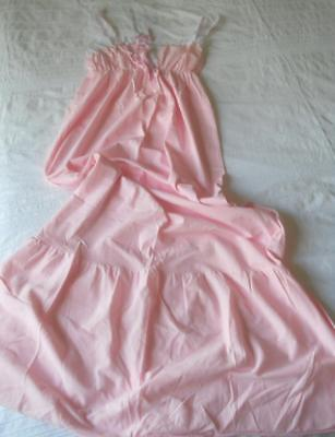 Vintage 1960's Variety Brand Pink Nylon Empire Line Full Length Nightie 14