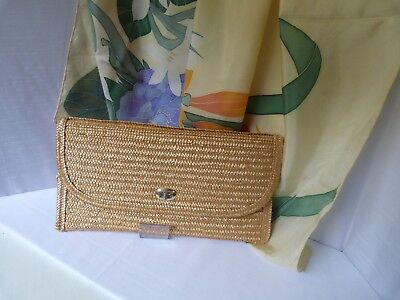 Vintage straw clutch bag, 1970s - 80s - great for summer, large