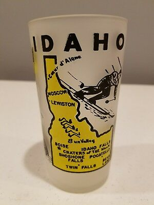 Vintage Hazel Atlas Idaho Frosted State Souvenir Glass Collectible 5 Inch