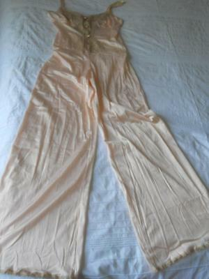 Fabulous Diamond Cut All In One 1970's Peach Nylon Coffe Lace Sleep Jumpsuit 10