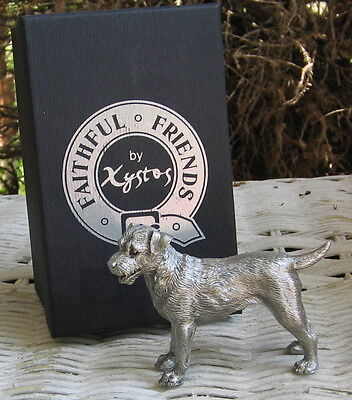 Faithful Friends By Xystos  Standing Pewter Border Terrier