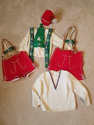 Pair Of Authentic Vintage Bavarian Children's Lederhosen With Pure Wool Sweaters