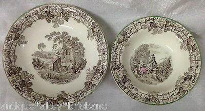 Vintage 2 Spode Copeland Dishes Bowl Brown Ivy Leaf Border Woman Baby Dog