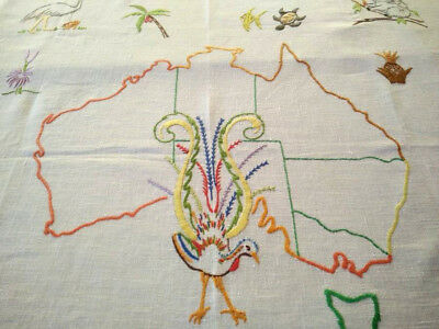 Map of Australia ~Lyre Bird & Native Flora & Fauna ~ Hand Embroidered Tablecloth