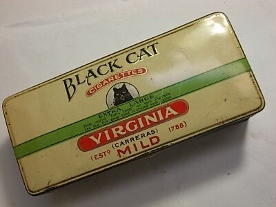 Old BLACK CAT Cigarette Tobacco Tin . VG