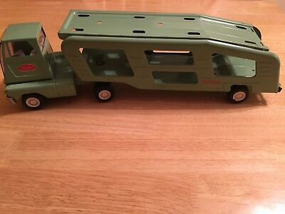 Tonka Truck And Car Carrier Vintage 1960's Green Pressed Steel Family Owned