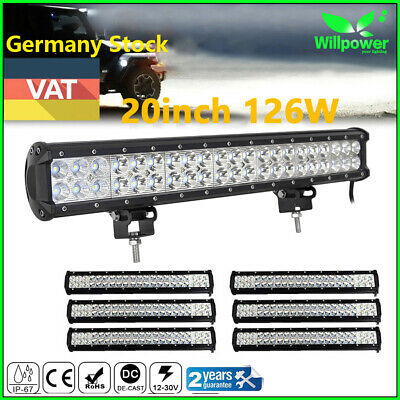 20 Inch 126W LED Car Driving Work Light Bar for Jeep Truck ATV UTE Boat 4X4WD