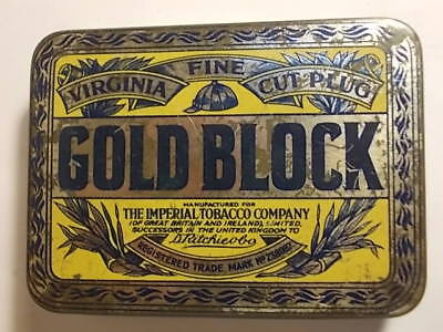 Old GOLD BLOCK Empty Tobacco Tin. Good Used Cond.