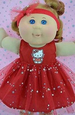 "Play n Wear Doll Clothes For 14"" Cabbage Patch  RED SEQUIN DRESS~HEADBAND"