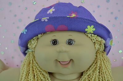 "Play n Wear Doll Clothes To Fit 16"" Cabbage Patch PURPLE/FLOWER DRILL SUN HAT"