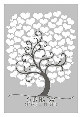 Personalised Love Tree Heart wedding guest book alternative (A3) with 80 Hearts