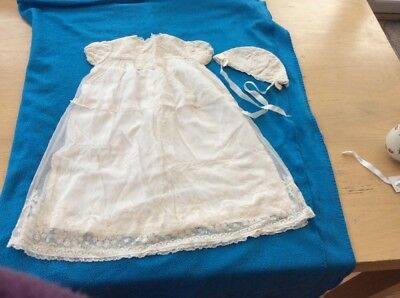 Edwardian lace childs christening gown and bonnet