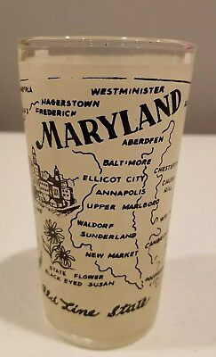Vintage Hazel Atlas Maryland Frosted State Souvenir Glass Collectible 5 Inch