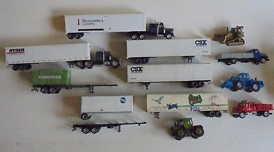 HO scale job lot ofmodel train road vehicle and trailers please see pictures