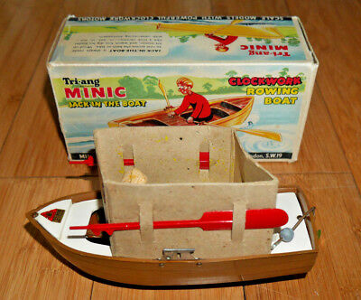 TRIANG MINIC JACK IN THE BOAT CLOCKWORK WINDUP VINTAGE 1950's WITH KEY RARE A004