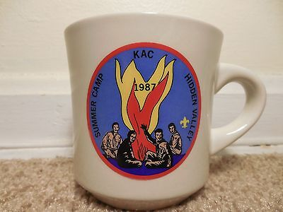Boy Scouts of America Vintage Coffee Cup Mug 1987 KAC Hidden Valley Camp
