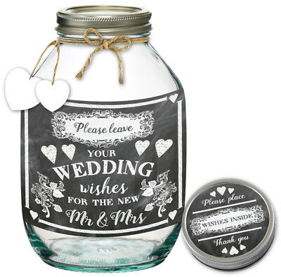 Wedding Mr and Mrs Wishes Jar Party Memories Keepsake Guest Book