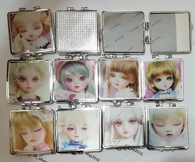 Folding Vanity Make-up Mirror Handbag Compact, Doll Face double 3D Reflection