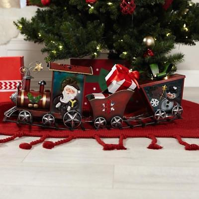 Winter Lane Fused Glass Lit Musical Holiday Train Décor Metal Christmas SO CUTE!