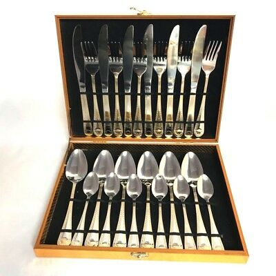 24 Piece Gold Plated Versace Inspired Designed Cutlery Set In Presentation Box
