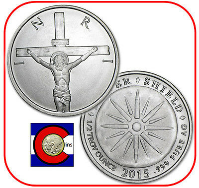 2015 Silver Shield Jesus Crucifixion Shekel 1/2 oz Silver Round/Coin in airtite