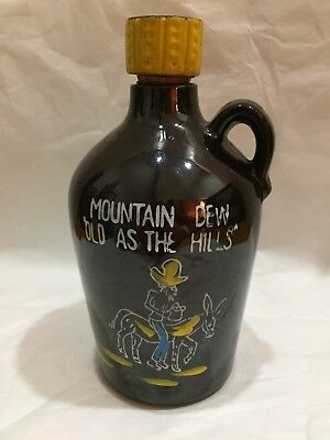 Vintage Redware Jug With Cork Whimsical Mountain Dew Old as the Hills