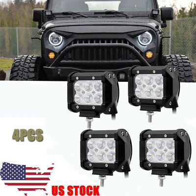 4X 4Inch Round Pods Spot LED Driving Fog Lights Off Road Work Light Jeep Wrangle