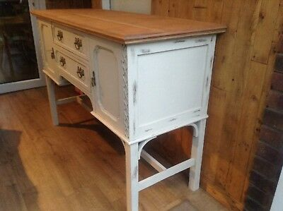 Antique Shabby Chic Antique French White Raised Sideboard. Delivery Available.