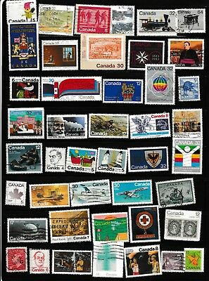 #614=Canada used mix of 44 different stamps from different years
