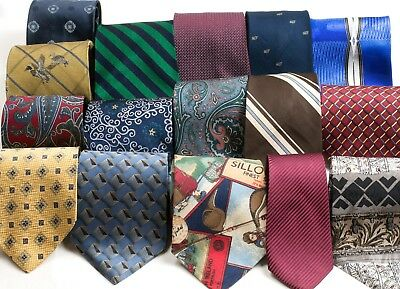 LOT OF 40 MENS NECK TIES, Designer Silk, Vintage & Modern Dress Suit Quilt Craft
