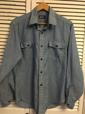 Vintage 1970's Levi's Orange Tab Chambray Shirt Made In USA Men's Large