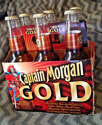 RARE Vintage Captain Morgan GOLD Rum Pirate 6PACK Bottle Discontinued Spice Cola
