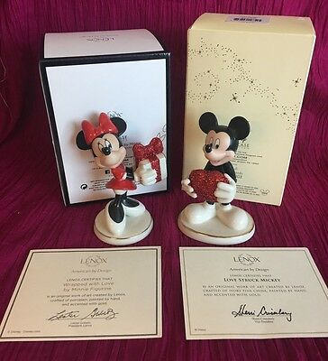 Lenox Disney Figurine Pair Love Struck Mickey Mouse Wrapped with Love by Minnie