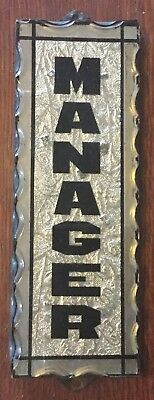 Antique Foil Backed Reverse Painted Scalloped Glass Sign, Manager, Vintage