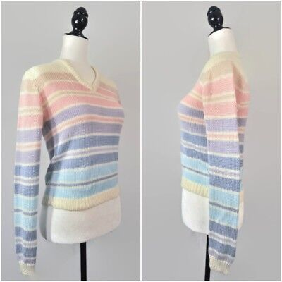 VTG 80s Pastel Rainbow Knit Striped Sweater Crop Top XS Small Club-Kid Grunge