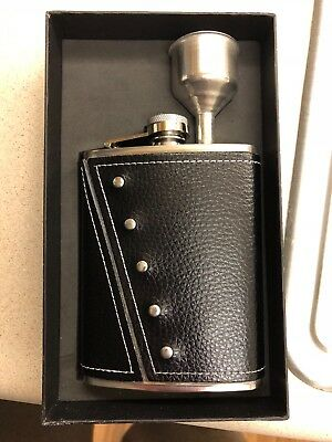Stainless Steel Leather Hip Flask 8 Oz By Benco