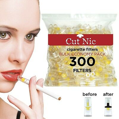 Cut-Nic Disposable Cigarette Filters - Bulk Economy Pack (300 Per Pack)